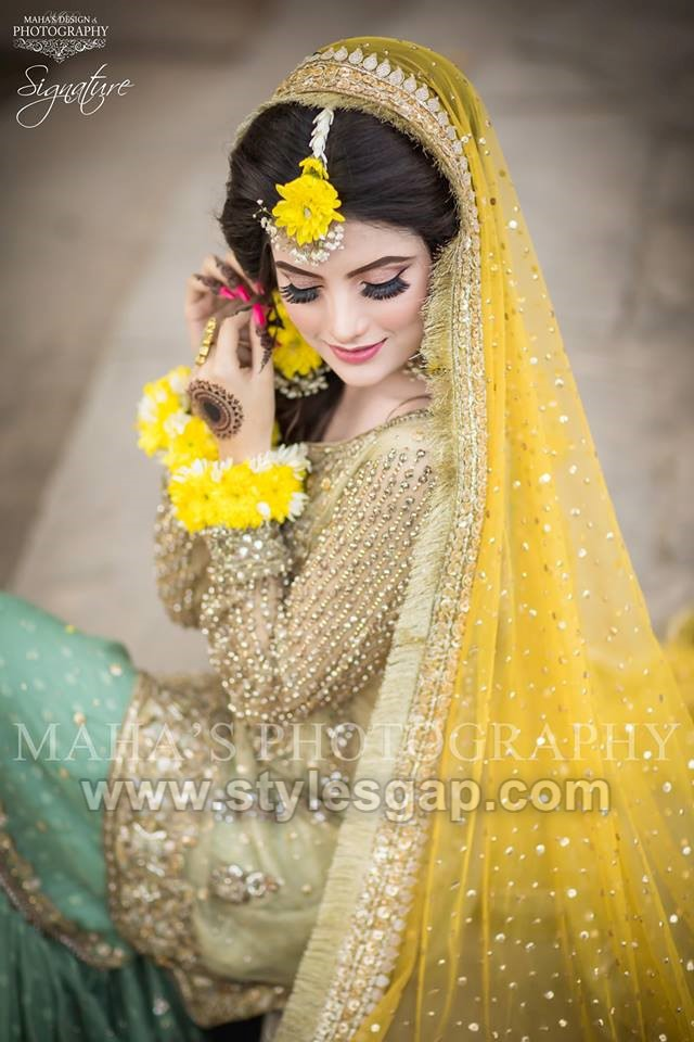 elegant mehndi bride dress Latest Bridal Mehndi Dresses
