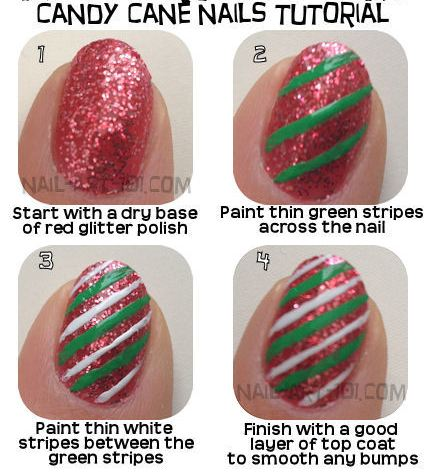 4 Best Nail Tutorials for Christmas-Candy cane nail Idea