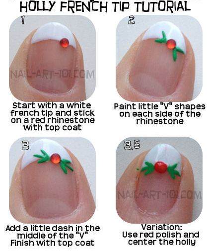 4 Best Nail Tutorials for Christmas- French Tip Nail