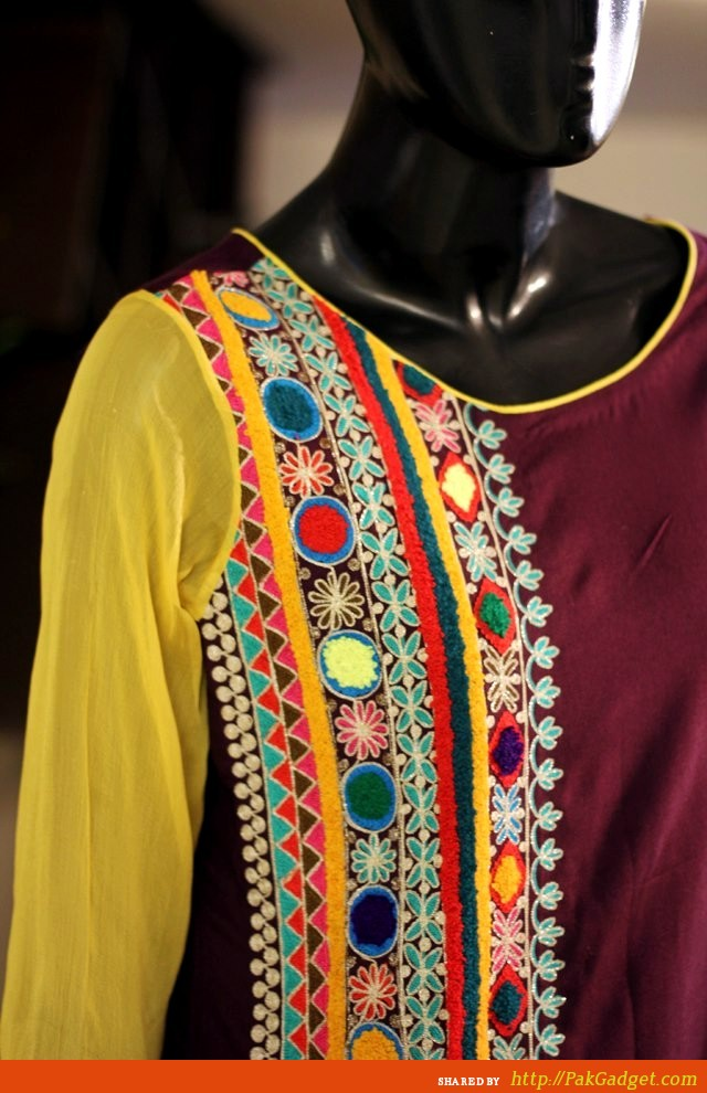 Hand Embroidery Designs For Kurti Mirror Work