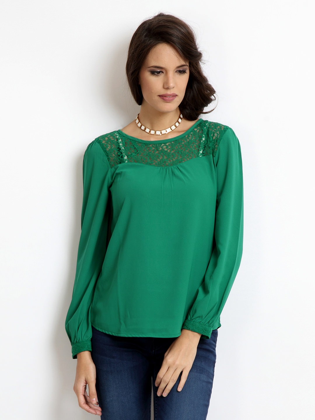 Harpa-Women-Green-Top_ Ladies Tops and Shirts By Best Brands