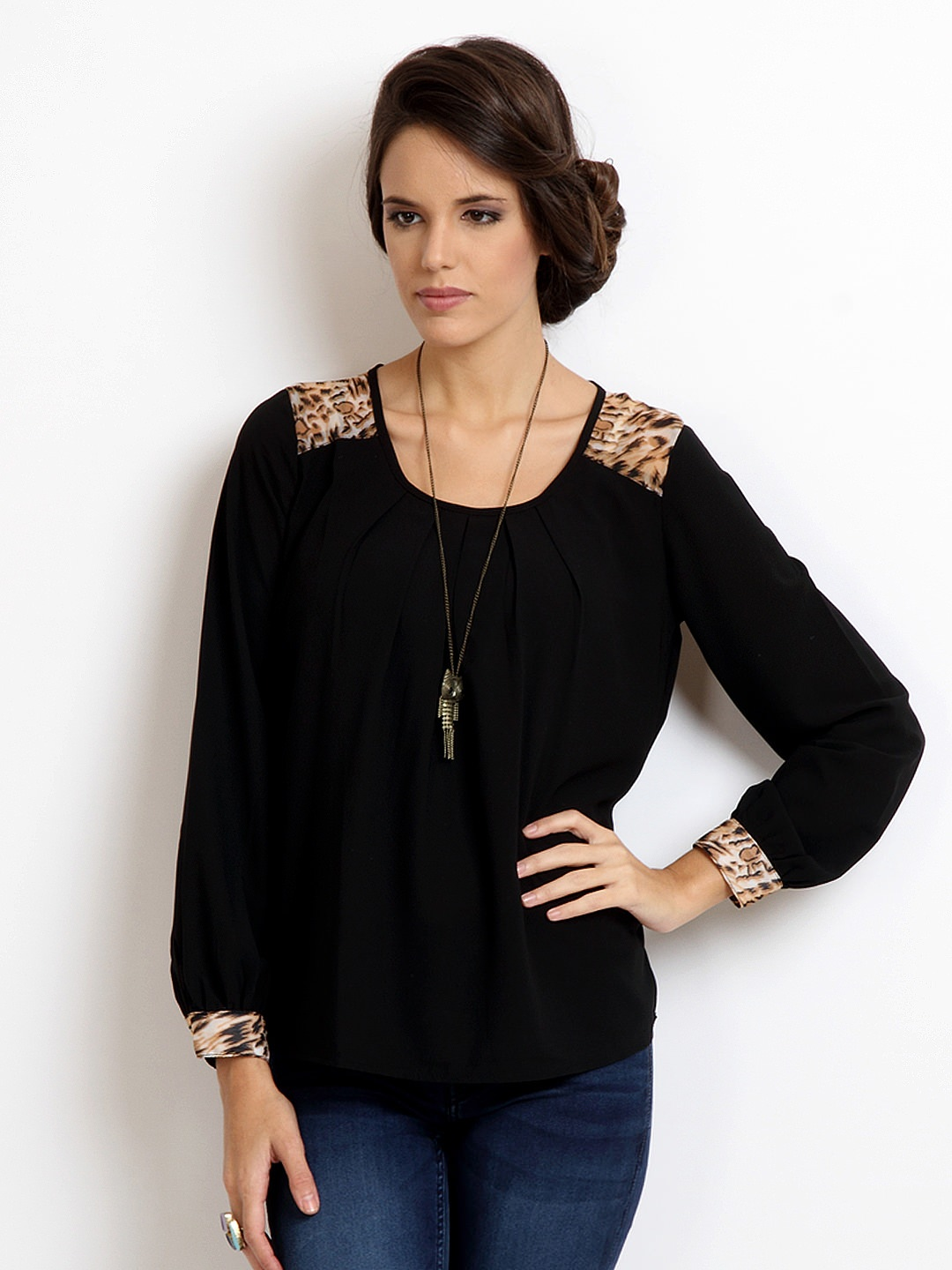 Harpa-Women-Taupe-Top_ Ladies Tops and Shirts By Best Brands
