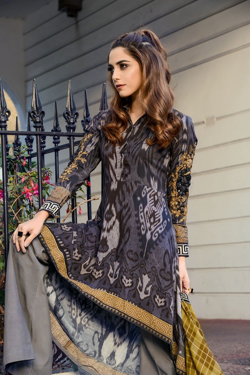Latest Winter Outfits Sweaters For Men Women 2017 2018: Latest Maria B Winter Linen Dresses Collection 2017-2018