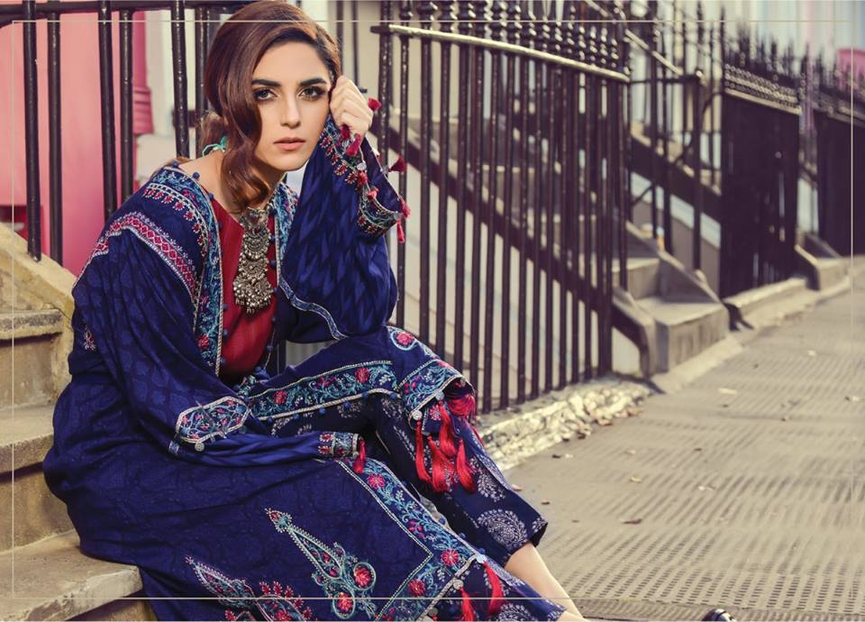 Latest Maria B Winter Linen Dresses Collection 2017 2018 Online