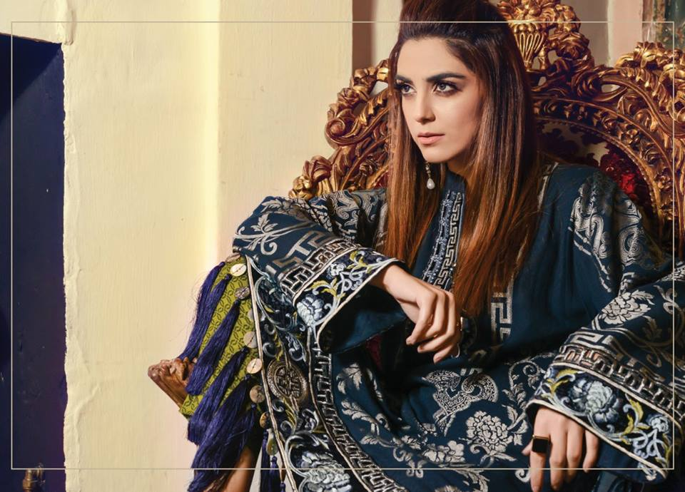 Latest Maria B Winter Linen Dresses Collection 2017-2018