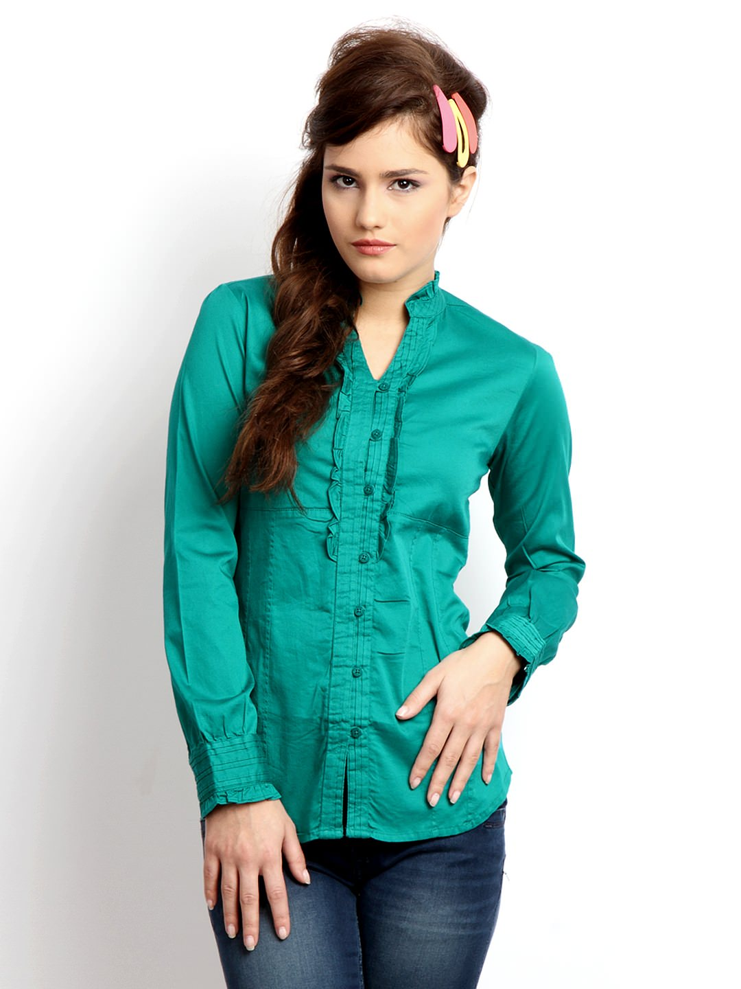 Pepe-Jeans-Women-Green-Shirt_Latest Ladies Tops and Shirts By Best Brands