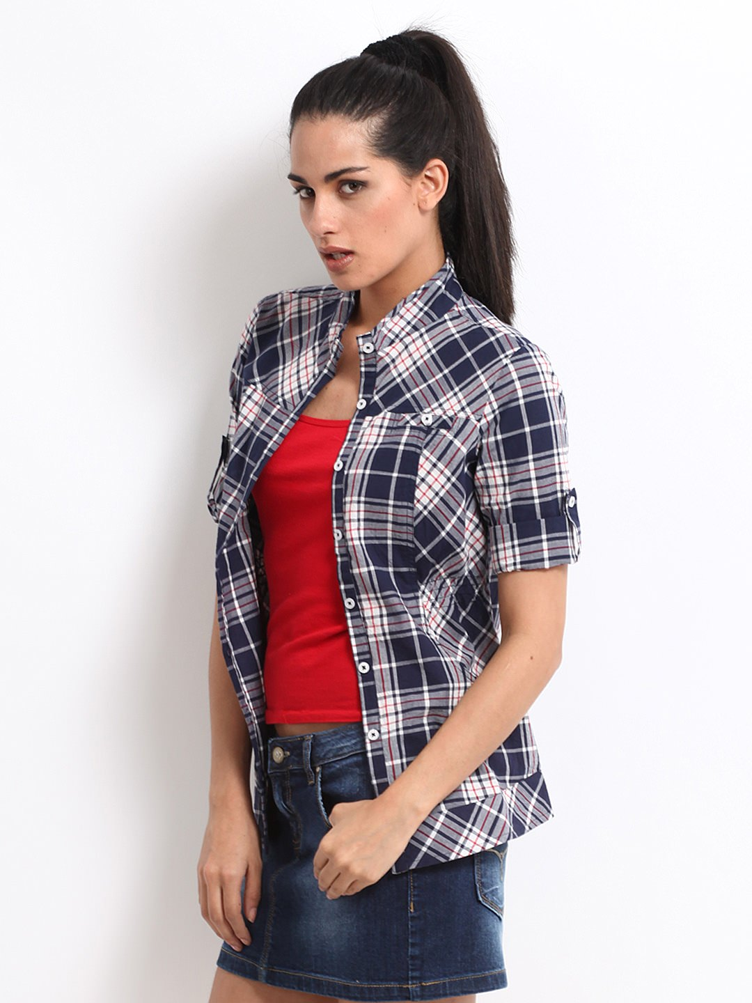 Roadster-Women-Navy-&-White-Checked-Shirt_ Ladies Tops and Shirts By Best Brands