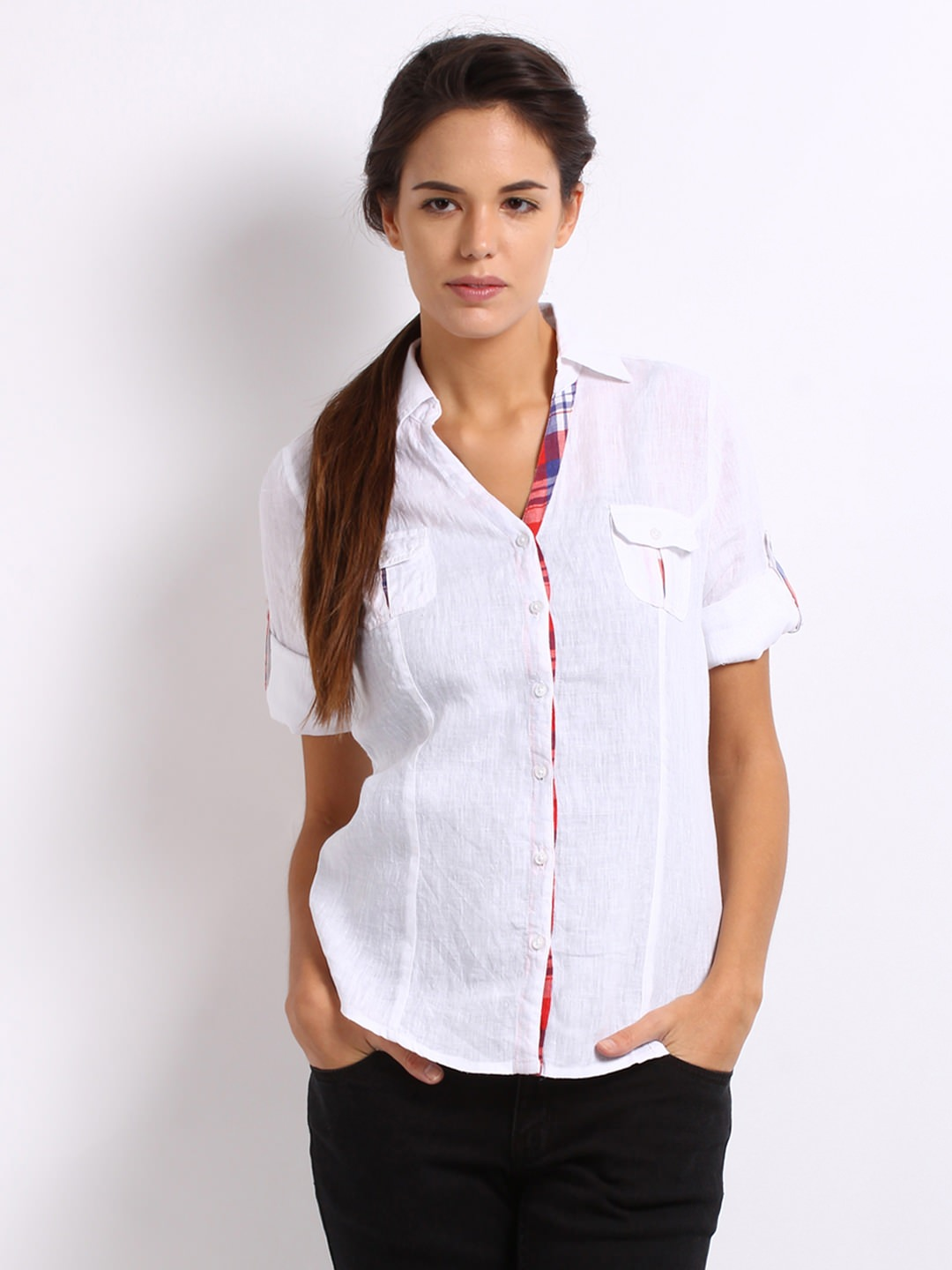 Roadster-Women-White-Casual-Shirt_ Ladies Tops and Shirts By Best Brands