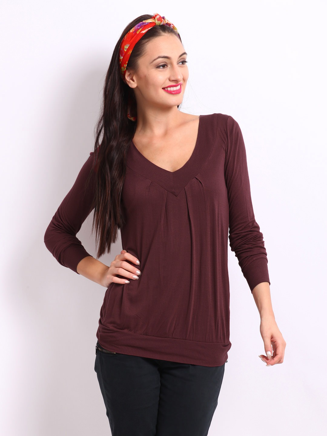 United-Colors-of-Benetton-Women-Burgundy-Top_ Ladies Tops and Shirts By Best Brands