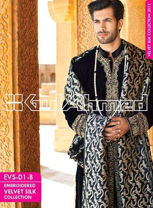 Gul Ahmed Embroidered Velvet and Silk Coats For Men 2014 (1)
