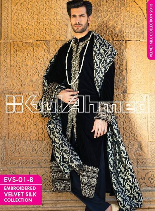 Gul Ahmed Embroidered Velvet and Silk Coats For Men 2014 (2)