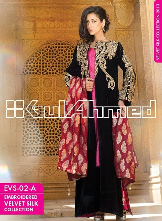 Gul Ahmed Embroidered Velvet and Silk coats for Women 2014