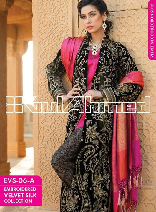Gul Ahmed Embroidered Velvet and Silk coats for Women 2014 (1)