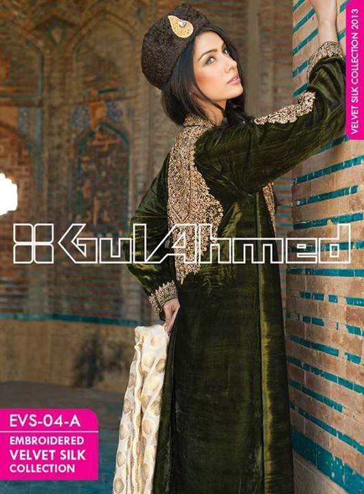 Gul Ahmed Embroidered Velvet and Silk coats for Women 2014 (10)