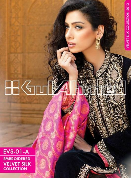 Gul Ahmed Embroidered Velvet and Silk coats for Women 2014 (11)