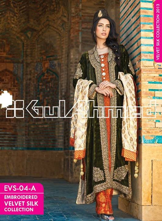 Gul Ahmed Embroidered Velvet and Silk coats for Women 2014 (12)