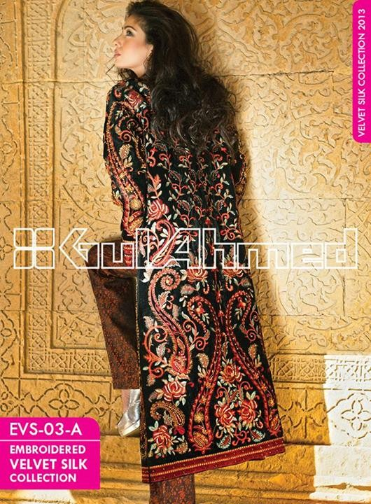 Gul Ahmed Embroidered Velvet and Silk coats for Women 2014 (2)