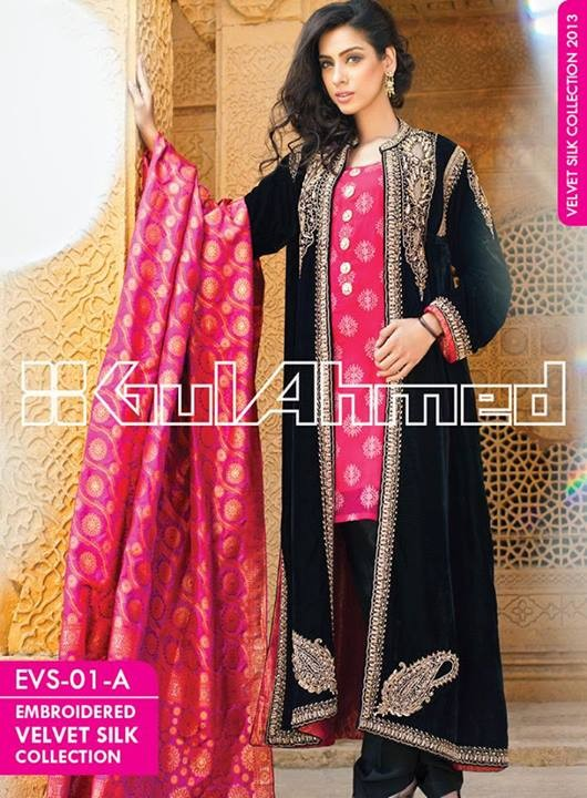Gul Ahmed Embroidered Velvet and Silk coats for Women 2014 (3)