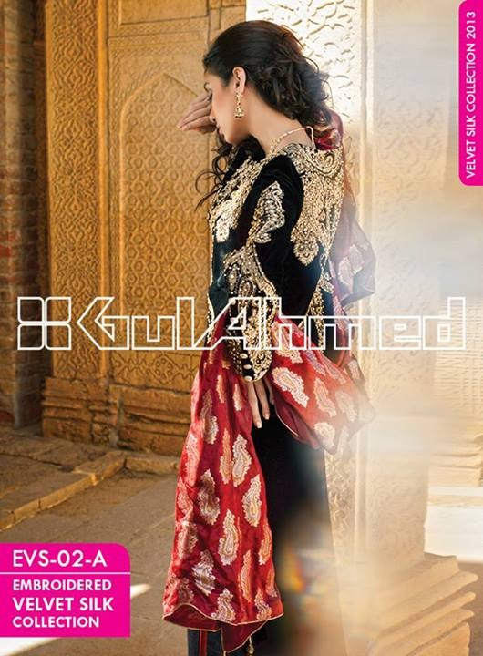 Gul Ahmed Embroidered Velvet and Silk coats for Women 2014 (4)