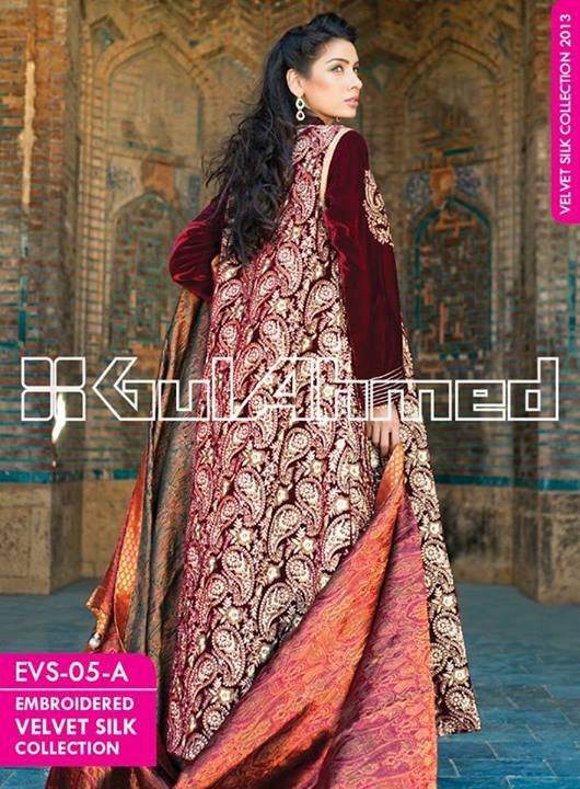 Gul Ahmed Embroidered Velvet and Silk coats for Women 2014 (5)