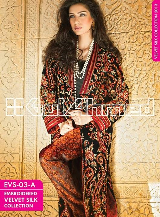 Gul Ahmed Embroidered Velvet and Silk coats for Women 2014 (6)