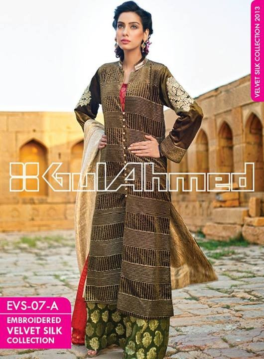 Gul Ahmed Embroidered Velvet and Silk coats for Women 2014 (7)
