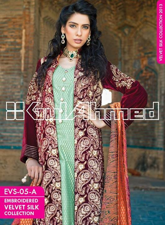 Gul Ahmed Embroidered Velvet and Silk coats for Women 2014 (9)