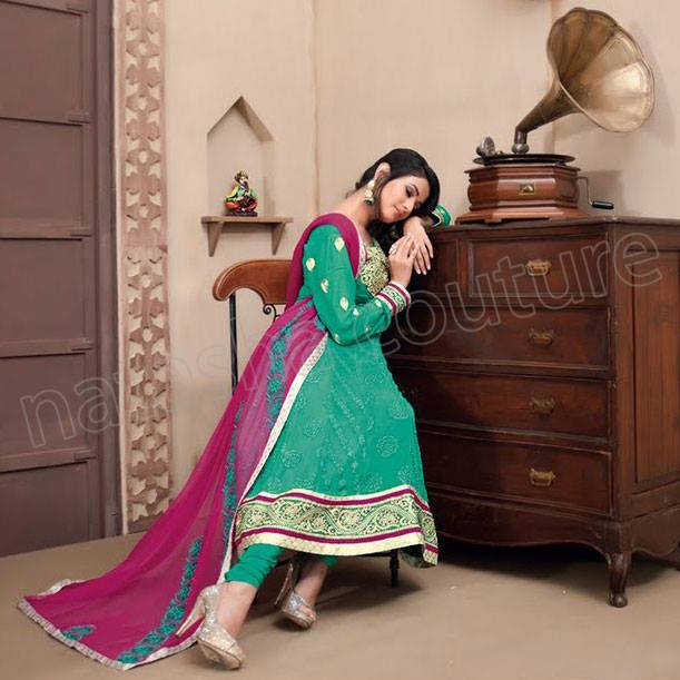 Latest Indian and Asian Anarkali Frocks and Dresses 2014-2015  (8)