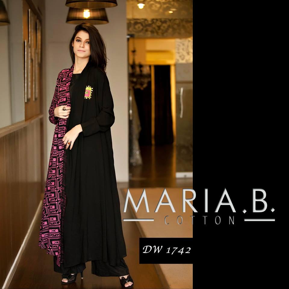 Shirt design with palazzo - Latest Maria B Winter Designs Cotton Shirts Linen Kurtis Winter Dresses 2014