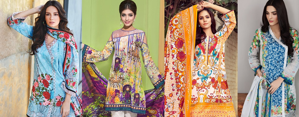 Gul Ahmed Printed Summer lawn Dresses 2017-2018