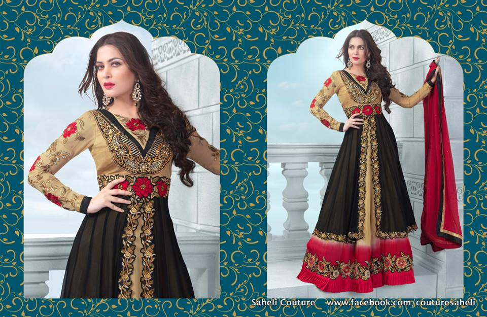 Long Floral Length Frocks Anarkali Dresses By Rivaaj Saheli Couture (11)