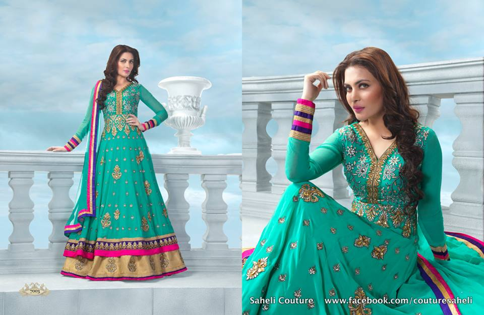 Long Floral Length Frocks Anarkali Dresses By Rivaaj Saheli Couture (3)