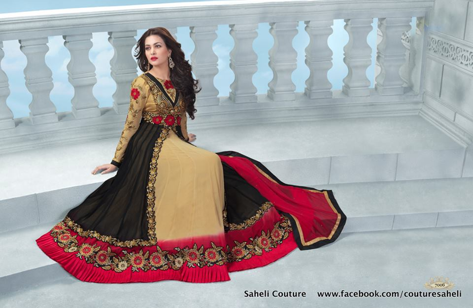 Long Floral Length Frocks Anarkali Dresses By Rivaaj Saheli Couture (5)