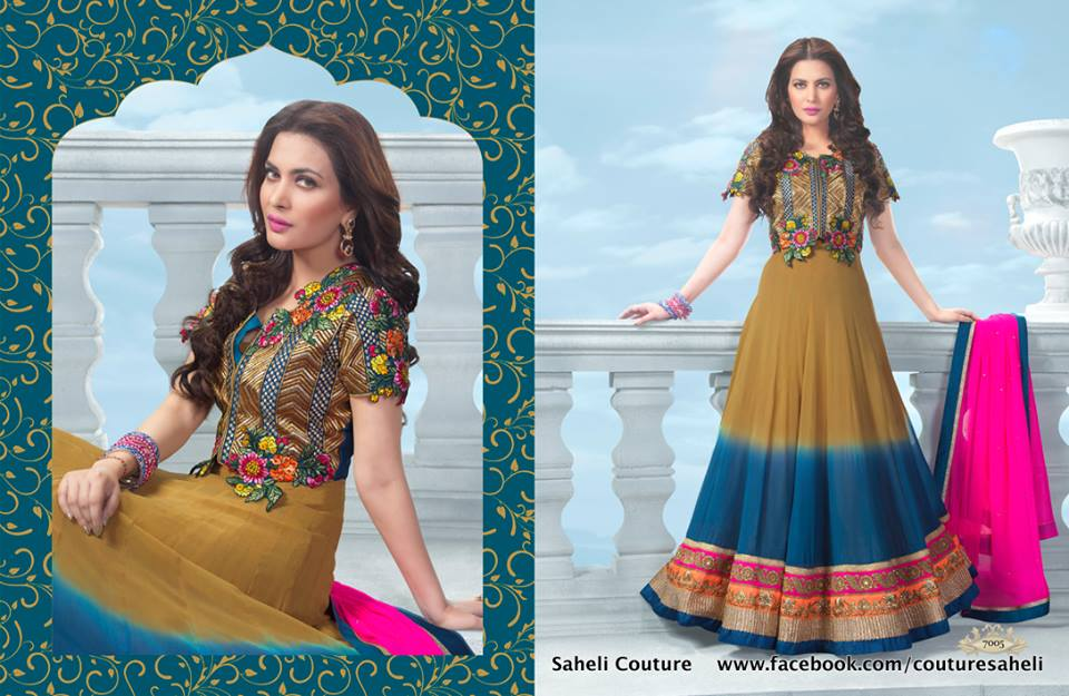 Long Floral Length Frocks Anarkali Dresses By Rivaaj Saheli Couture (8)
