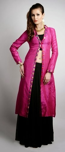 Long Front Open Double Shirts with Palazzo and Lehenga For Girls (2)