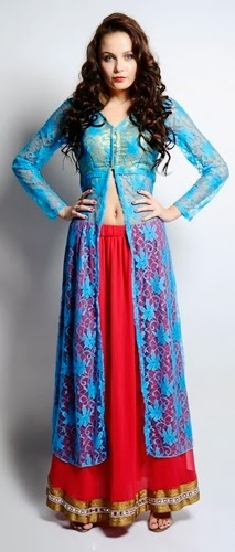Long Front Open Double Shirts with Palazzo and Lehenga For Girls (4)