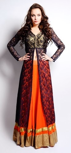 Long Front Open Double Shirts with Palazzo and Lehenga For Girls (6)