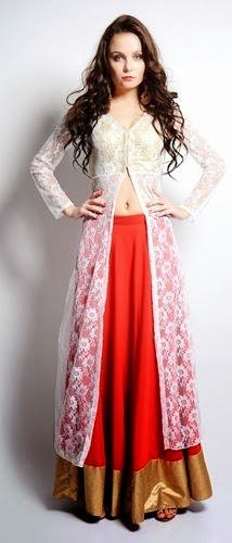 Long Front Open Double Shirts with Palazzo and Lehnga (1)