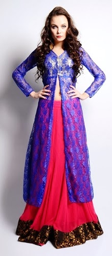 Long Front Open Double Shirts with Palazzo and Lehnga (4)