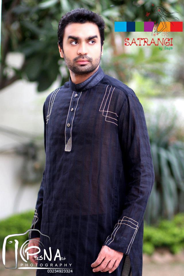 Summer-Spring Dresses Cotton Kurta for Men by Satrangi 2014-2015  (9)