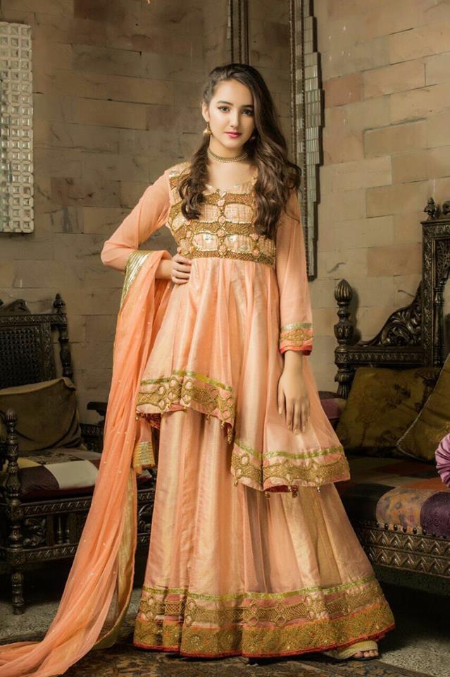 f8dddb42a5c Asymmetric peach color Peplum- Latest Party Wear Fancy Formal Dresses