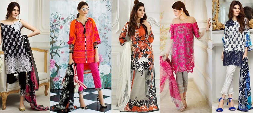Sana Safinaz Best Summer Lawn Dresses Latest Printed Embroidered Collection 2017-2018