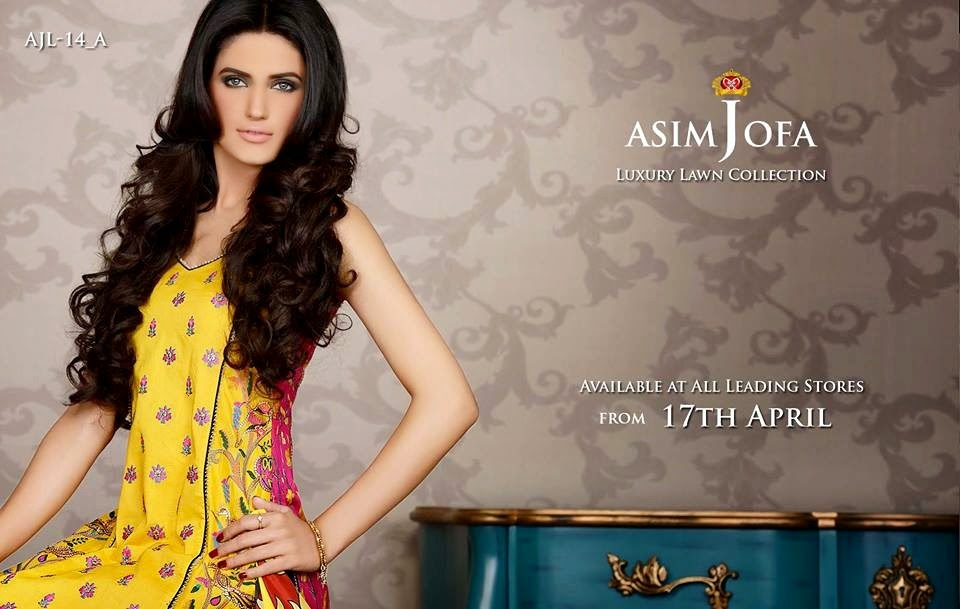 Asim Jofa Luxury Embroidered Lawn Formal dress Summer Collection 2014-2015 (1)