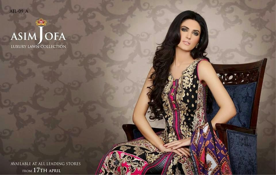 Asim Jofa Luxury Embroidered Lawn Formal dress Summer Collection 2014-2015 (2)
