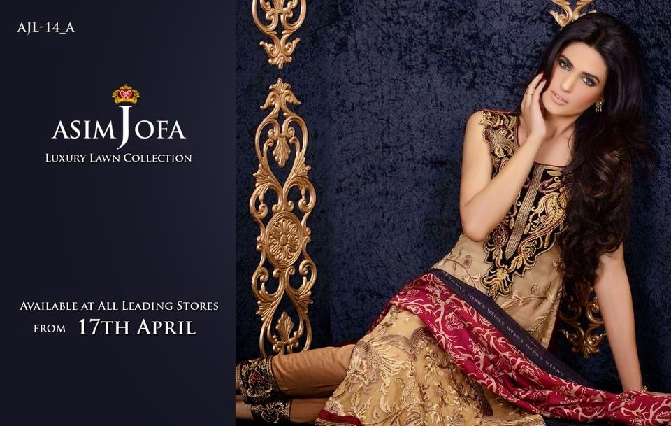 Asim Jofa Luxury Embroidered Lawn Formal dress Summer Collection 2014-2015 (3)