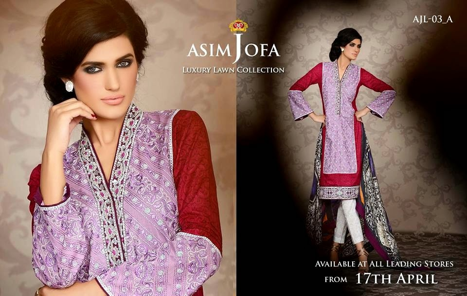 Asim Jofa Luxury Embroidered Lawn Formal dress Summer Collection 2014-2015 (4)