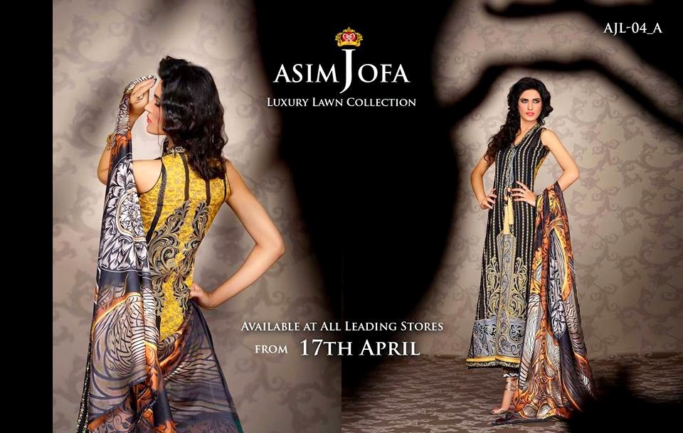 Asim Jofa Luxury Embroidered Lawn Formal dress Summer Collection 2014-2015 (5)