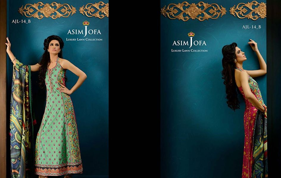Asim Jofa Luxury Embroidered Lawn Formal dress Summer Collection 2014-2015 (8)