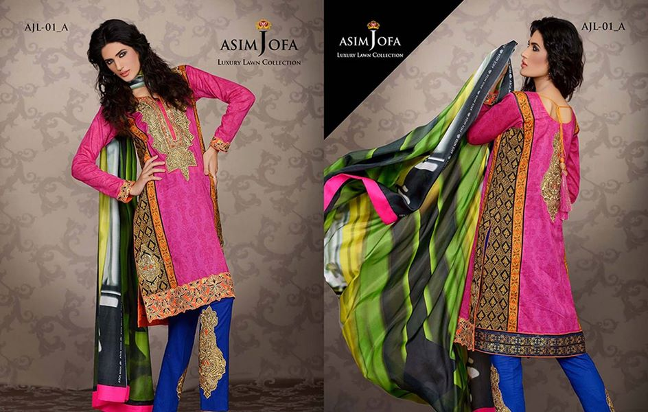Asim Jofa Luxury Formal embroidered Lawn Collection for women 2014-2015 (1)