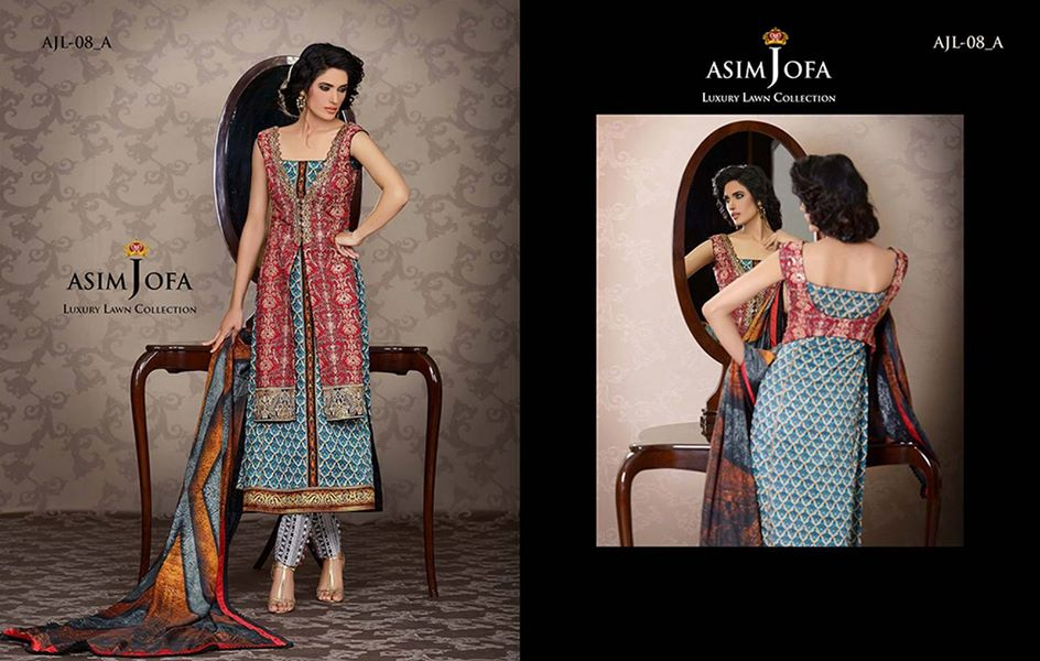 Asim Jofa Luxury Formal embroidered Lawn Collection for women 2014-2015 (2)